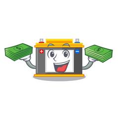 With money bag accomulator cartoon sticks on the vector