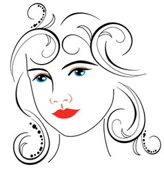 Woman face drawing 7 vector