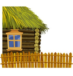 Wooden house with thatched roof and fence vector