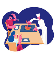 Young couple sitting at restaurant table with vector