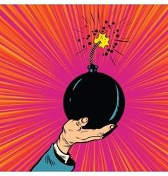 Bomb burning fuse war terrorism vector image vector image