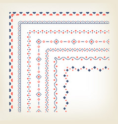 Borders with corner elements vector