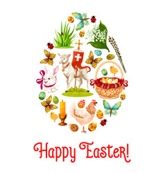 easter egg poster with cartoon holiday symbols vector image vector image