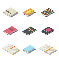 isometric books with shadows vector image