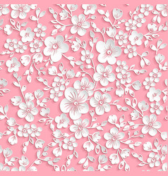 red sakura flower seamless pattern vector image