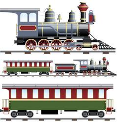 Steam train with coach vector