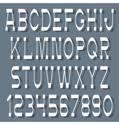 White alphabet letters and numbers with shadow vector image vector image