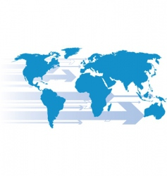 world with arrow directions vector image vector image