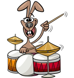 bunny playing drums cartoon vector image