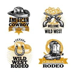 Cowboy Retro Emblems vector image vector image