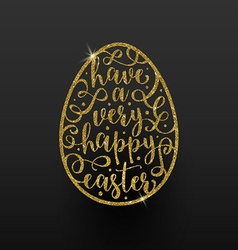 Easter greeting card - easter glitter gold egg vector image vector image
