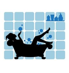 female silhouette in the bathroom vector image vector image