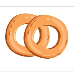 Fresh bagel isolated cartoon vector image