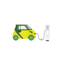green electric car recharging at charging station vector image vector image