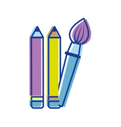 Pencils and art paint brush tool vector