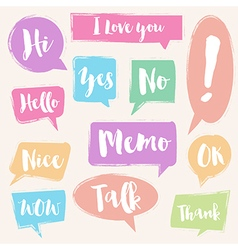 Set of painted brush style bubble talk vector