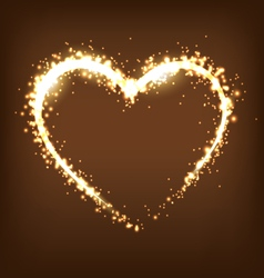 Sparkling heart on brown vector image vector image