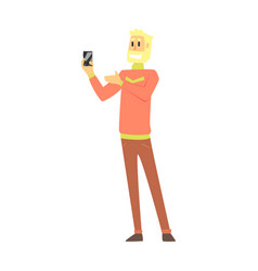 beardy man holding smartphone department store vector image vector image