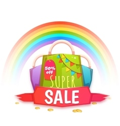 Big sale banner with color packet and confetti vector image