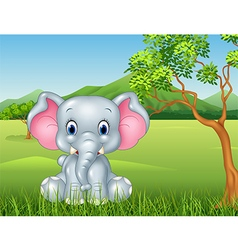 Cartoon funny baby elephant sitting in the jungle vector image vector image