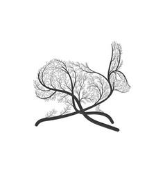 running hare rabbit stylized bush vector image vector image