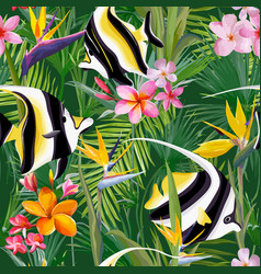 tropical fish palm leaves background vector image vector image