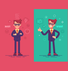 angry and positive businessmen vector image vector image