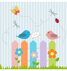 Birds on fence with letter vector image vector image