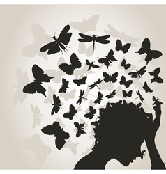 Butterflies from a head3 vector image vector image