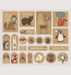 Christmas kraft paper cards and gift tags set vector