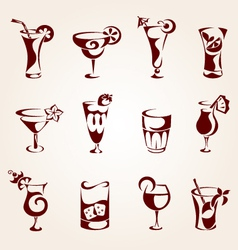 Cocktails icons vector image vector image