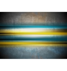 Glowing colorful stripes on grunge wall background vector image vector image