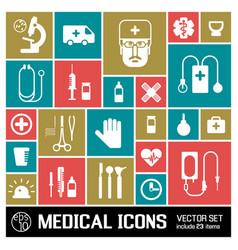medical colored icons set vector image vector image