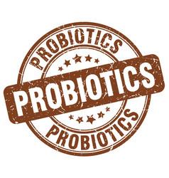 Probiotics brown grunge round vintage rubber stamp vector