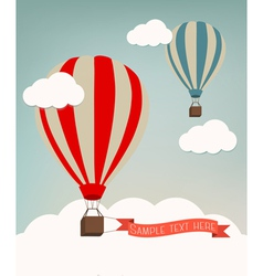 Retro background with colorful air balloons and vector image