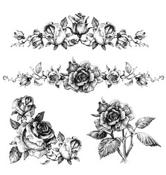 rose design elements garlands and bouquets vector image vector image