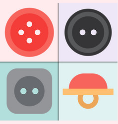Set of four sewing buttons with threads round vector