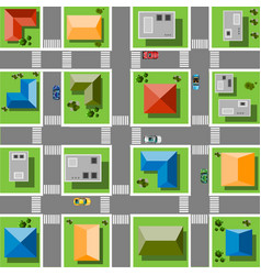 top view city with streets roads houses and vector image vector image