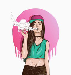 Vape swag girl vector