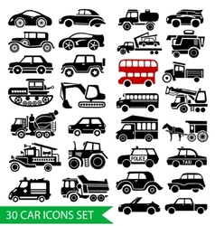 30 car icons set black auto web pictogram vector image
