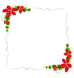 A floral border with red flowers vector image