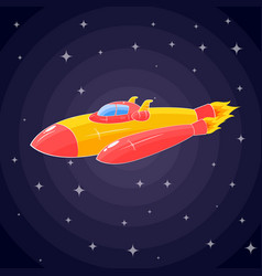 a spaceship in the form of an orange rocket and a vector image