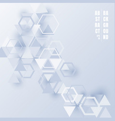 abstract triangles and hexagons light blue color vector image