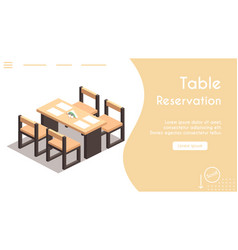 Banner isometric table reservation in cafe vector