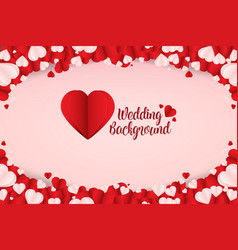 beautiful abstract paper art heart wedding vector image