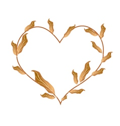 Beautiful dried leaves in a beautiful heart vector