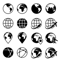Black earth globe icons vector