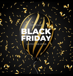 black friday sale discount promo and gold vector image