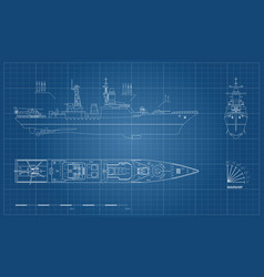 Blueprint military ship top front and side vector