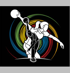 Bowling sport players bowler vector